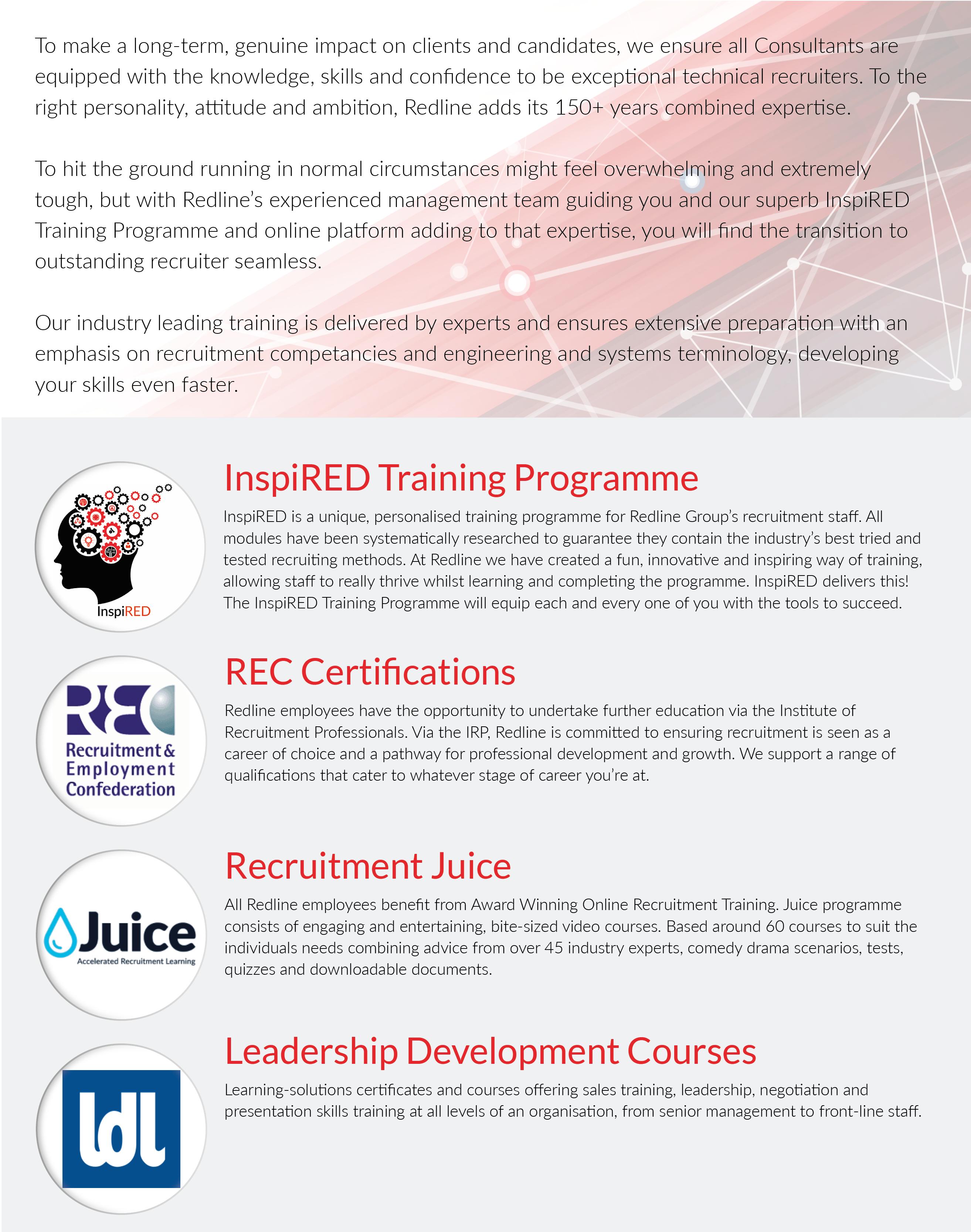 Join Redline, Training Programme